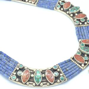 Collar Silver 925, Vintage Look with Blue Lapis